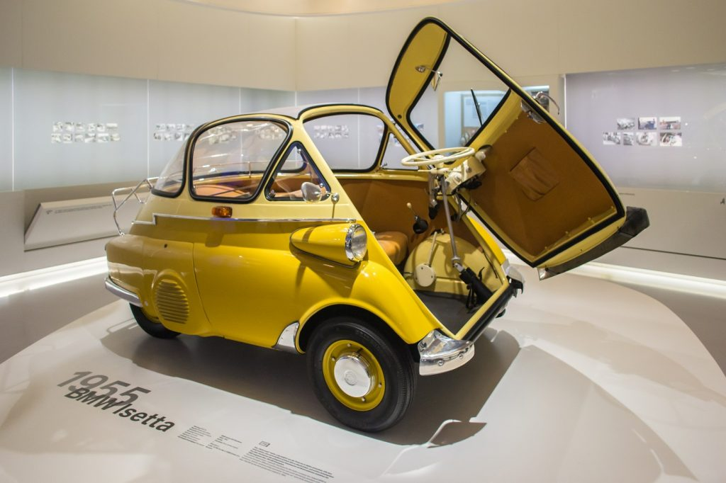 A 1955 BMW Isetta with its Front Door Open