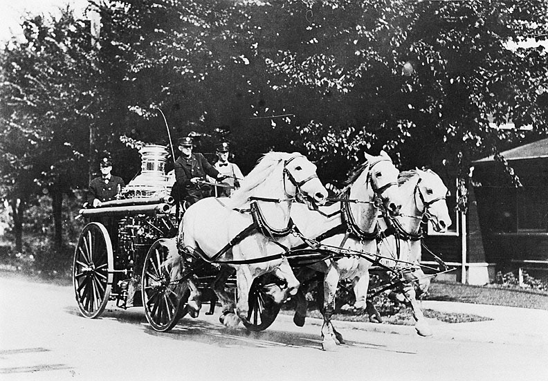 A Horse-Drawn Fire Engine in 1913
